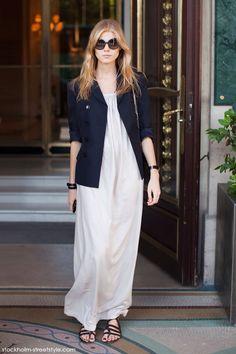 white maxi+ navy blazer. Maryna Linchuk