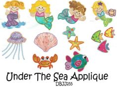 Embroidery Designs | Free Machine Embroidery Designs | JuJu Under the Sea mermaids Applique