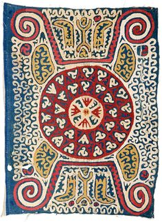 Kaitag embroidery 2ft. 10in. x 2ft. 2in. Caucasus 18th century Cotton ground, silk embroidery