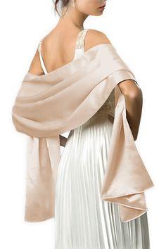 Dressystar Satin Stola Schal für Kleider in 24 Farben Champagner 200cm*60cm