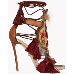 DSQUARED2 Eskimo Chic Sandals ($1,935) ❤ liked on Polyvore featuring shoes, sandals, heels, brown, brown sandals, colorful shoes, tassel shoes, brown heel sandals and leather sole shoes