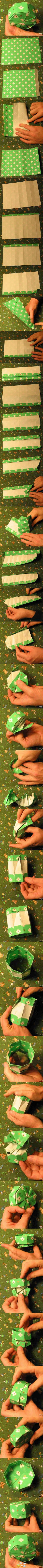 go to origami hexagonal gift box (non modular) on youtube for similar instructions
