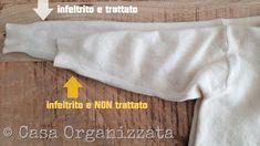 come sfeltrire la lana - comparazione tra parte trattata e parte NON trattata
