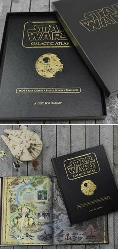 Cool Star Wars inspired book for geeks. Fans can explore a galaxy far, far away with this Personalized Atlas Book that includes every location ever mentioned within the Star Wars universe. The perfect gift idea for the true Star Wars fans. #ad #starwars #book #atlas #giftidea #personalizedgift #geeky #nerdy