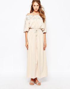 Image 1 ofDarccy Off Shoulder Maxi Dress with Corset Waist Detail