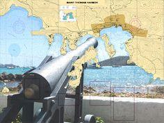 St. Thomas Harbor - Nautical Chart Sailcloth Print