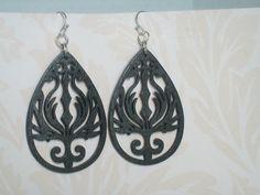 Black Wood Earrings. Varnished Art Deco Earrings by JypsyJewels