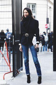 Paris_Fashion_Week-Fall_Winter_2015-Street_Style-PFW-Geraldine_Saglio-Belted_Jacket-Jeans-