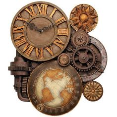 I love this clock for quite a few reasons, but chief of which is because it is steampunk. Steampunk is kind of a fusion of Victorian style and technology. The idea with steampunk is that everything is possible, given enough gears and widgets. Design Steampunk, Casa Steampunk, Steampunk Kunst, Steampunk Clock, Steampunk Fashion, Steampunk Bedroom, Victorian Steampunk, Steampunk Costume, Steampunk Clothing