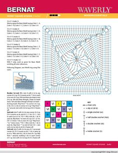 Crochet Granny Square - Chart and written instructions