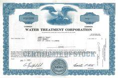 Water Treatment Corporation - #scripomarket #scriposigns #scripofilia #scripophily #finanza #finance #collezionismo #collectibles #arte #art #scripoart #scripoarte #borsa #stock #azioni #bonds #obbligazioni