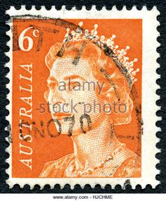 AUSTRALIA - CIRCA 1970: A used 6 cent postage stamp from Australia, depicting a portrait of Queen Elizabeth II, - Stock Image