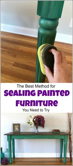 Sealing painted furniture and looking for the best top coat for painted furniture, or how to seal painted furniture? Look no further, this step by step tutorial with video walks you through how to seal painted wood using a sponge applicator. furniture sealant, top coat for painted furniture, clear coat for painted wood, chalk paint top coat, dixie belle paint, gator hide via @justthewoods