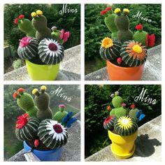 Composizioni realizzate all'uncinetto con vasi di vari colori