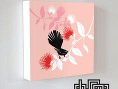 "Art block ""Fantail & Pohutukawa"" by DUDO"
