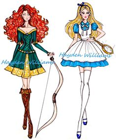 de moda da Disney Croquis Hayden Williams - Merida e Alice- might make a good idea for Irish dance dressCroquis Hayden Williams - Merida e Alice- might make a good idea for Irish dance dress Moda Disney, Dress Illustration, Fashion Illustration Dresses, Fashion Illustrations, Hayden Williams, Disney Princess Fashion, Disney Style, Cute Disney, Disney Art