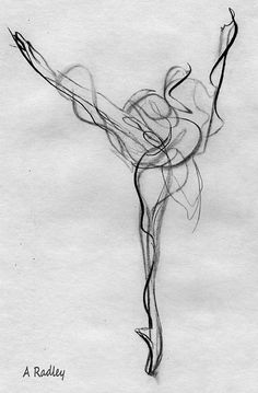 ... Dancer Arabesque Dance Pointe Shoes Pencil Graphite Energy Movement