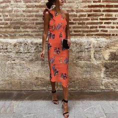 Sexy One Shoulder Sleeveless Floral Print Bodycon Dress Brand Dreamlipshop Color Orange red SKU Gender Women Style Elegant/Sexy/Fashion Type Maxi Dress Occasion Party/Vacation/Daily Life Material Polyester fib 15 Dresses, Sexy Dresses, Evening Dresses, Casual Dresses, Fashion Dresses, Summer Dresses, Amazing Dresses, Pretty Dresses, Bodycon Dress With Sleeves