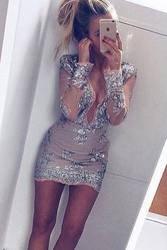 Homecoming Dress-Deep V-neck Sheath with Sequins Long Sleeves,Tight prom dress