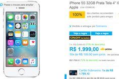 "iPhone 5S 32GB Prata Tela 4"" IOS 8 4G Câmera 8MP << R$ 158320 >>"