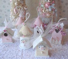 Pink Tinsel Angel Ornament -  Shabby Pink Roses. $12.00, via Etsy.