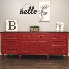 Hand painted red buffet by A Pinch of Rue Red Painted Furniture, Vintage Furniture, Furniture Ideas, Red Buffet, Sideboard Buffet, Dresser, Cabinet, Storage, Hand Painted