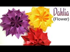 "Beautiful Flower  Origami - Paper ""Dahlia  Flower "" - YouTube"