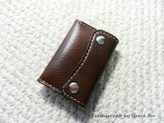 100% hand stitched handmade walnut brown marbled pattern cowhide leather key purse / holder / case with card pouch