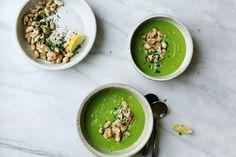 Asparagus + Pea Soup with Crisp Beans   Tara O'Brady
