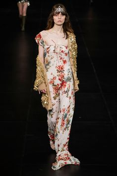 The floral story for spring rings in somewhere between demure, ultra-feminine and even ironic. Think ladylike frocks with English garden patterns and Victorian ruffles, sheer black florals and edgy grunge prints.  Pictured: Saint Laurent   - HarpersBAZAAR.com