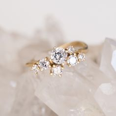 diamond cluster ring in yellow gold - one of a kind unique engagement ring