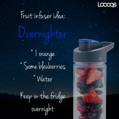 Overnighter Infused Water Bottle, Vitamins, Stationery, Fruit, Recipes, Facebook, Food, Stationeries, Papercraft