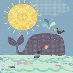 """""""Sunshine Whale"""" Wall Decor for Children by Amy Schimler-Safford for Oopsy Daisy, Fine Art for Kids size 18x18 $99"""