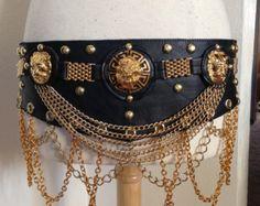 Tribal Fusion, Tribal,Belly Dance Majestic Lion, black leather wrap belt