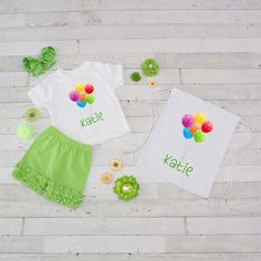 Balloons - 4pc Personalized Shirt, Short and Bag Set