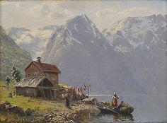 Dahl, Hans Andreas (Norwegian 1881-1919) Fjordlandskap med folkeliv (1916)