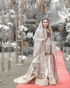 White Bridal Dresses, Pakistani Wedding Outfits, Pakistani Bridal Dresses, Pakistani Wedding Dresses, Wedding Dresses For Girls, Pakistani Dress Design, Bridal Outfits, Girls Dresses, Nikkah Dress