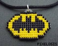 Handmade Seed Bead Pixelated Batman Symbol Necklace by Pixelosis Pony Bead Projects, Pony Bead Crafts, Beaded Crafts, Beaded Ornaments, Beading Projects, Pony Bead Patterns, Beading Patterns, Stitch Patterns, Super Hero Jewelry