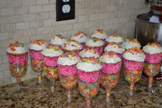 Check out these cereal cupcake parfaits at a Pancake and Pajama birthday party!  See more party ideas at CatchMyParty.com!