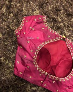 Lil flowers like these steal our hearts forever ! Stunning pink color designer blouse with little flower design hand embroidery work.Ping on 9884179863 to book an appointment! Wedding Saree Blouse Designs, Pattu Saree Blouse Designs, Blouse Designs Silk, Designer Blouse Patterns, Designer Saree Blouses, Brocade Blouses, Skirt Patterns, Coat Patterns, Clothes Patterns