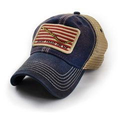 Revival Co. Navy Jack Don't Tread On Me Flag Trucker Hat, Navy - In the Autumn of Commodore Erik Hopkins readied the Continental Navy on the Delaware River. The signal to attack the British Navy came in the form of . Mens Trucker Hat, Dont Tread On Me, Dad Hats, Usa Flag, Snapback Hats, American, Delaware River, Mens Fashion, Baseball Caps