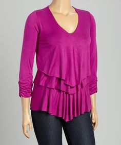 Berry Tiered V-Neck Top - Plus | zulily
