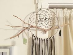 Custom Dreamcatcher - Natural Wood Branch Dream Catcher, Leather Lace with Accent feathers, Beads, Hanging Crystal or Gemstone by TheDreamerWeaver on Etsy https://www.etsy.com/listing/254916752/custom-dreamcatcher-natural-wood-branch
