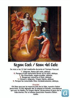 La Iglesia aconseja el rezo del Regina Coeli o Reina del Cielo en lugar del Ángelus durante la Pascua. ¡Aquí lo tienes para ponerlo en práctica! Madonna, Painting, Easter, Saints, Prayers, Painting Art, Easter Activities, Paintings, Painted Canvas