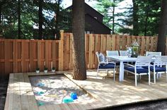 Love the idea of a sandbox built into the deck. When the kids outgrow the sandbox, it's probably not too difficult to replace the boards to make a full deck. Outdoor Fun, Outdoor Decor, Sand Pit, Backyard For Kids, Pergola Kits, Pergola Garden, Deck Patio, Garden Bed, Kid Spaces