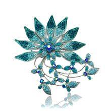 Красивый Горный Хрусталь Брошь Ювелирные Изделия Синий Большой Цветок Стразами Хрустальная Роза Броши Для Женщин Бижутерия(China (Mainland))