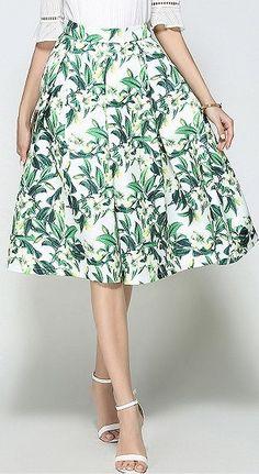 Green Floral High Waist Midi Prom Skirt