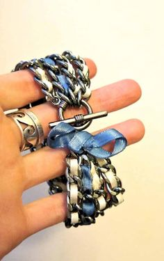 DIY Jewelry DIY Bracelet DIY  ribbon & chain bracelet. This could be really cute with some charms and dangles.