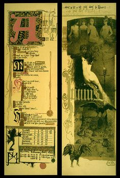 JUNE -Magic Calender of 1895 ; Colored Lithographs by Manuel Orazi. A rare piece of occultist ephemera, printed in an edition of 777 copies to commemorate magic for the coming year of 1896.