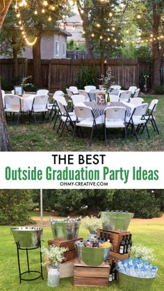 Rock your grad's party with these 15 awesome outdoor graduation party ideas! Awesome outside grad party ideas include outdoor games, grad party decor, photo booth and more fun outside party ideas! Ideas for graduation party centerpieces, backyard drink station, outdoor lighting are just a few of the things you need to consider before hosting an outdoor graduation party. #graduationpartyideas #outdoorgraduationpartyideas #gradparty #backyardparty #graduationpartydecor #highschoolgraduationparty Graduation Party Desserts, Outdoor Graduation Parties, Guy Graduation Party Ideas, Graduation Year, Grad Party Centerpieces, Backyard Party Decorations, Backyard Party Games, Outdoor Games, Outdoor Lighting